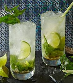 The fragrant, citrus flavour of lemongrass goes beautifully well with mint and rum. Use the lemongrass stalk as a stirrer in this delicious mojitos. Mint Water, Mojito Cocktail, Tesco Real Food, Mojito Recipe, Water Recipes, Food Gifts, Lemon Grass, Summer Recipes, Glass Of Milk