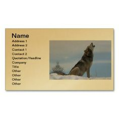 Howling Alaskan Timber Wolf Business Card printed on a gold colored background.  Other colors available.