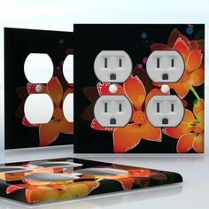 DIY Do It Yourself Home Decor - Easy to apply wall plate wraps | Hawaiian Midnight  Neon lilies on black  wallplate skin sticker for 2 Gang Wall Socket Duplex Receptacle | On SALE now only $4.95
