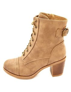 Lace-Up Chunky Heel Combat Boots: Charlotte Russe