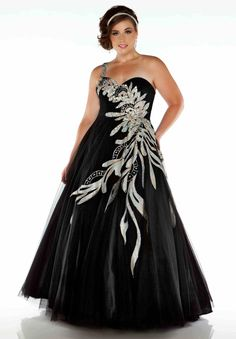 Plus Size Black and Silver Prom Dresses