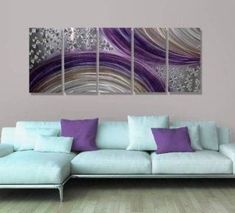 Winter wall decor is not only an amazing way to spruce up your home this winter but also easy and affordable.   In fact whether you like winter metal art, winter canvas wall art, or winter wall clocks you will find something to help deck the walls of your home. Abstract Purple and Silver Modern Metal Wall Art Painting Decor - Winter Solstice by Jon Allen - 64
