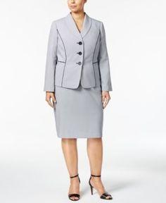 34a776d299f Le Suit Plus Size Seersucker Skirt Suit - Blue 16W Seersucker Skirt