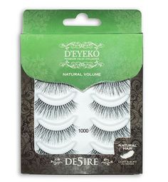 D'Eyeko DE5IRE 1000 Black False Eyelashes - 100% Natural Hair - Natural Volume Lashes - 5 Pairs -- Continue to the product at the image link.
