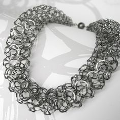 Oxidised silver short chain tube necklace | Contemporary Necklaces \/ Pendants by contemporary jewellery designer Joanne Thompson
