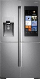 Samsung - Family Hub 22.08 Cu. Ft. Counter-Depth 4-Door Flex Smart French Door Refrigerator With Geek Squad White Glove Experience - Stainless Steel - Larger Front