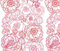 Poppies line art matching border fabric by oksancia on Spoonflower - custom fabric