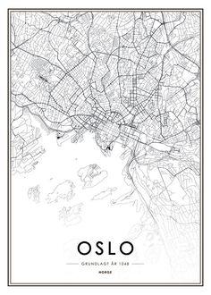 Schwarz-weiße Oslo-Karte