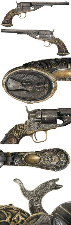 Rare Documented Factory Engraved, Colt Model 1861 Navy Richards-Mason Conversion with Tiffany Grip.