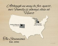 Long Distance Gift for Family, Family Quote, Family Map, Present for Parents, Birthday Idea for Mom, Gift for Grandparents, US Map by KeepsakeMaps on Etsy  #FamilyGift #NeutralColorPrint #LongDistanceGiftIdea #USMapPrint #FamilyQuote