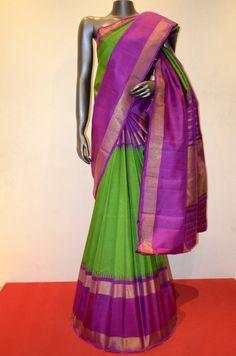 Green Traditional Kanjeevaram Adoring With Contrast Purple Tissue Zari Border Product Code: AC200267 Online Shopping http://www.janardhanasilk.com/index.php?route=product/product&product_id=4764&search=AC200267
