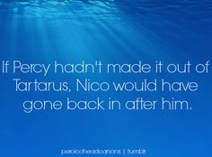cedarleaf: If Percy hadn't made it out of Tartarus, Nico would have gone back in after him. #percico