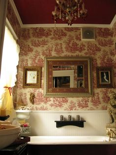 toile.  my wallpaper.  and a red ceiling.  LOVE.