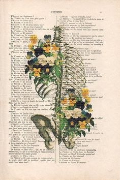 Human hand with flowers Anatomy Print on dictionary Anatomy art ...