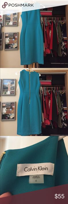Calvin Klein size 4 teal dress. Calvin Klein size 4 teal dress. Hits at or just above the knees, perfect for the office or date night! Only worn once. True to size. NWOT Calvin Klein Dresses Midi