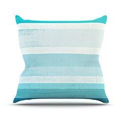 KESS InHouse CT3031AOP03 18 x 18-Inch 'CarolLynn Tice Waves Blue Aqua' Outdoor Throw Cushion - Multi-Colour ** Click image to read more details. #GardenFurnitureandAccessories
