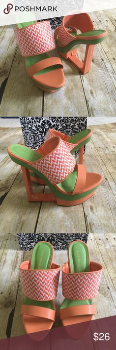 Orange Straw Woven Slip On Cut Out Wedges. 💋   Brand new in Box. Size 7           Look perfectly pretty for your next party when you add these saucy wedges to your look! They go perfect with any outfit for any occasion! Make sure you add these to your closet, it definitely is a must have! The features include a faux leather upper with a straw woven thick strap, slip on design, strap vamp and open toe, cut out wedge heel, smooth lining, and cushioned footbed. Approximately 6 inch wedge heels…