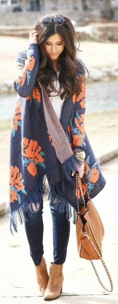 Woven Heart Rose Knit Fringe Open Shawl Sweater, Sleeve V-Neck Tee, 'The Legging' Ankle Jeans, Brown Booties