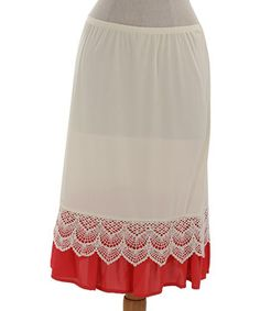This Hot Mango & White Lace A-Line Skirt by Final Touch Collection is perfect! #zulilyfinds