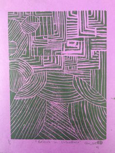 """(Un)balanced3."" Choi. 2015. Linoleum print"