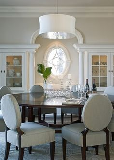 Round table, chandelier, chairs//South Shore Decorating Blog: