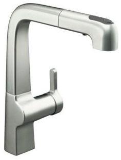 KOHLER K-6331-VS Evoke Single-Control Pull-Out Kitchen Faucet - contemporary - Kitchen Faucets - PlumbingDepot