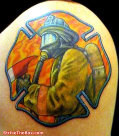 Firefighter in Maltese Cross tattoo (shoulder) | Share by LION