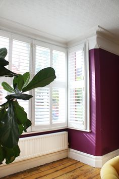 Can You DIY Shutters? (Hint: Yep, You Can) Large bay window in Victorian home with DIY Shutters from Bay Window Shutters, Indoor Shutters, House Shutters, Diy Shutters, Interior Shutters, Diy Interior, Living Room Interior, Living Room Decor, Interior Design