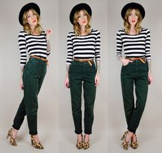 Black high waist cuffed trousers, black and white striped top, leopard shoe, red lips and wide brimmed hat. Simple Outfits, Pretty Outfits, Cute Outfits, Green Pants Outfit, Black Pants, 90s High Waisted Jeans, Hunter Green Pants, Skinny Pants, Fashion Stylist