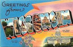 Wisconsin WI 1940s Large Letter Greetings from Wisconsin Vintage Linen Postcard Wisconsin WI 1940s Large letter greetings from Wisconsin with State Capitol in Madison and state flower Violet. Unused T