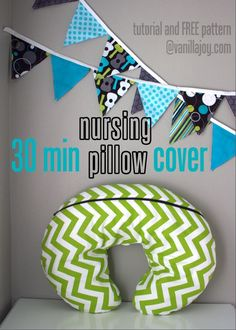 DIY boppy slipcover (gray chevron or polka dot- maybe use same fabric as closet curtain?)