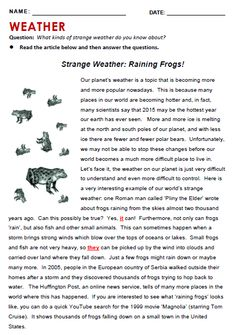 Weather - All Things Topics Reading Comprehension For Kids, Reading Passages, Kids Reading, Reading Skills, English Stories For Kids, English Story, English Vocabulary, English Grammar, Grammar Quiz
