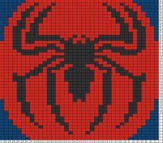 Tricksy Knitter Charts: spider-man - Visit to grab an amazing super hero shirt now on sale! Crochet Pixel, Graph Crochet, C2c Crochet, Beaded Cross Stitch, Cross Stitch Charts, Cross Stitch Patterns, Knitting Charts, Knitting Patterns, Crochet Patterns