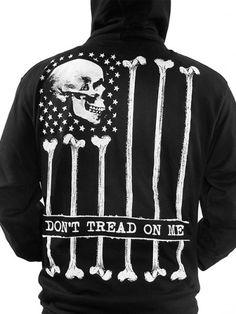 """Men's """"Don't Tread On Me"""" Bone Flag Zip Hoodie by Skygraphx (Black) #inked #inkedshop #inkedmagazine #hoodies #sweatshirt"""