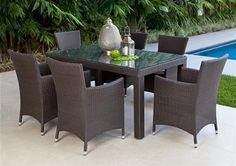 7pce Stanley Table & Chevron Chair Wicker Setting