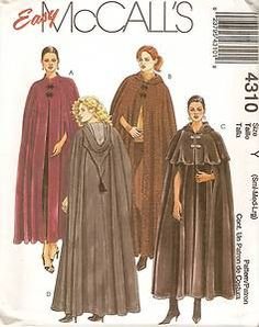 McCall's 4310 VICTORIAN/GOTH CAPES Sewing Pattern MISSES Small, Med, Large UNCUT