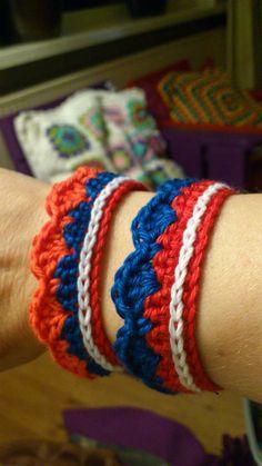 leuk armbandje Crochet For Kids, Diy Crochet, Kings Day, Lace Border, Bracelet Patterns, Red White Blue, Seasons, Quilts, Knitting