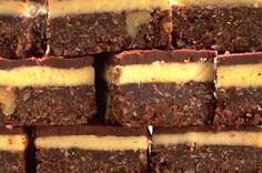 Chocolate coconut squares - use dark chocolate and dairy free milk