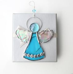Personalized Angel Suncatcher Stained Glass  by StainedGlassFayre