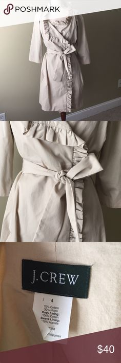 Sz 4 J Crew Ruffle Trench coat EUC. Lined sleeves. Belted. Ruffles around collar and front J. Crew Jackets & Coats Trench Coats