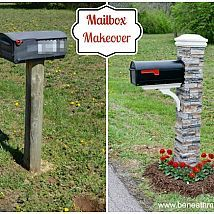"Hometalk - We had a very sad looking mailbox. I bought a ""kit"" from Lowe's to create a beautiful new mailbox"