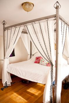 Kinky Chain Canopy Bed made of steel by TheWelderGirl on Etsy, $8000.00  Not quite my style, but super concept and attention to detail is just super. Best of all, she's local in SF!