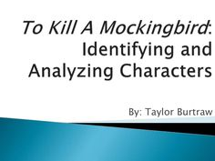 This presentation is a lesson plan powerpoint on character identification and analysis using the book To Kill A Mockingbird as an example.