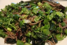 Hearty Greens with Ginger and Sugar Snap Peas over Soba Noodles - Elise Cohen Ho, Naturally Yours