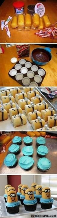 """How to Make Despicable Me Minion Cupcakes Ok, well these are sooo cute! However, the minions laying down have 2 layers of """"smartee eyes"""" and the minion cupcakes sitting up only have one. Minion Cupcakes, Cupcake Cakes, Twinkie Cupcakes, Cup Cakes, Twinkie Minions, Movie Cupcakes, Cake Minion, Just Desserts, Delicious Desserts"""