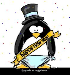 january happy new year penguin january is here with eyes that keenly glow a frost mailed warrior striding a shadowy steed of snow