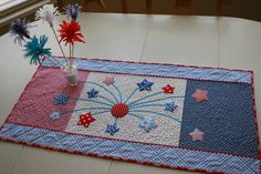 Quilted Fireworks Table Runner