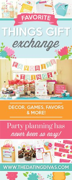 I have been wanting to do one of these Favorite Things parties! These printables are so cute and easy! www.TheDatingDivas.com