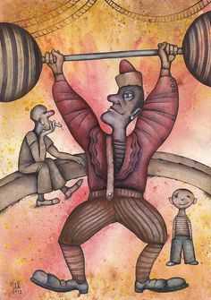 In a Circus by Eugene Ivanov #cirque #circus #clown #clownery #illustration #eugeneivanov #@eugene_1_ivanov
