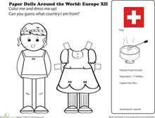 First Grade Social Studies Worksheets: Paper Dolls Around the World: Europe XII Social Studies Worksheets, Worksheets For Kids, Coloring Worksheets, Gs World, Small World, Culture Day, World Thinking Day, Holidays Around The World, Around The Worlds